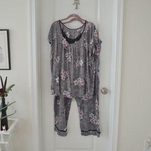 Grey Pink Black White Floral Pajama Set